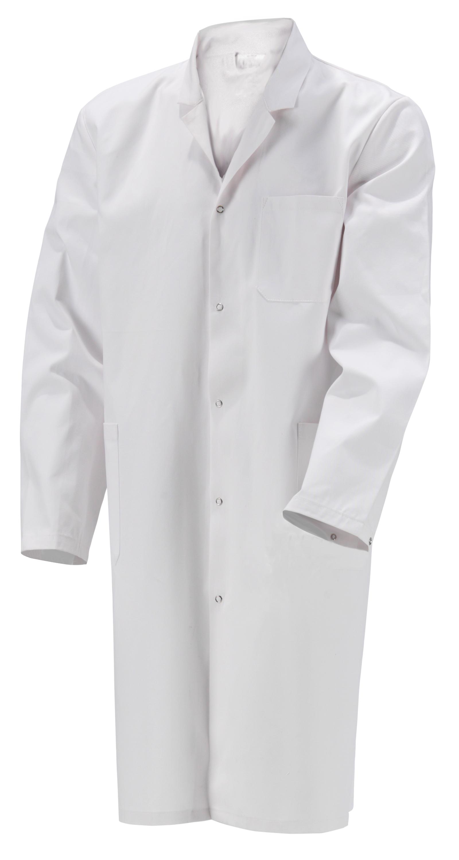 Kokott Herren Laborkittel mit Reverskragen, Knielang, 100% Baumwolle, Weiß