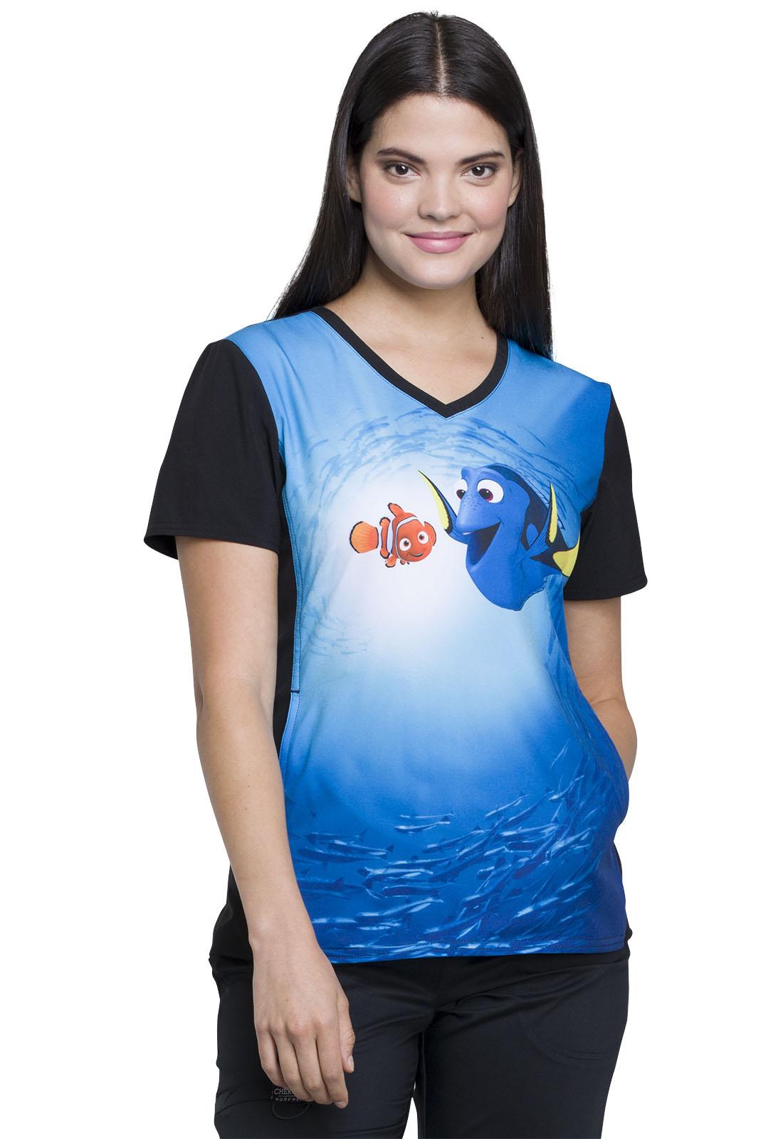 CHEROKEE Damen Schlupfkasack Dory und Nemo, Blau, V-Neck